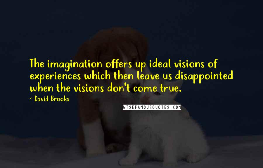 David Brooks quotes: The imagination offers up ideal visions of experiences which then leave us disappointed when the visions don't come true.