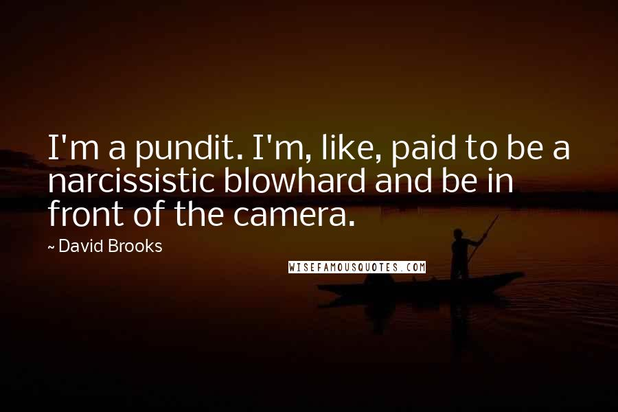 David Brooks quotes: I'm a pundit. I'm, like, paid to be a narcissistic blowhard and be in front of the camera.