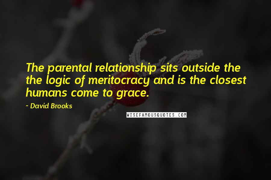 David Brooks quotes: The parental relationship sits outside the the logic of meritocracy and is the closest humans come to grace.