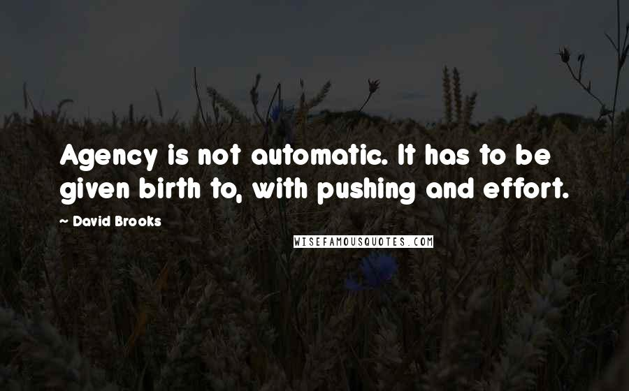David Brooks quotes: Agency is not automatic. It has to be given birth to, with pushing and effort.