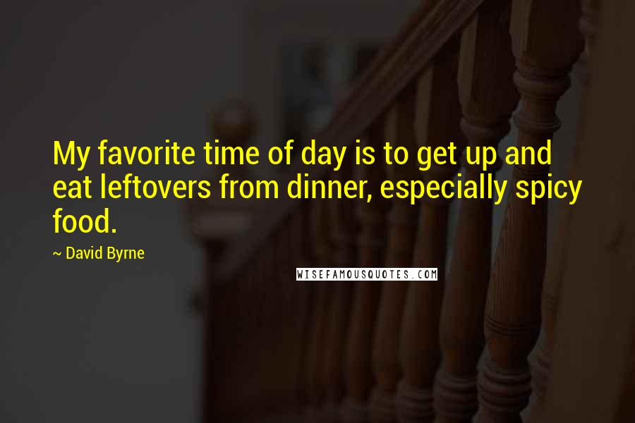 David Byrne quotes: My favorite time of day is to get up and eat leftovers from dinner, especially spicy food.