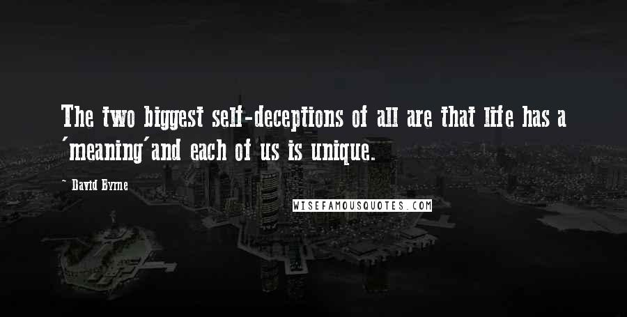 David Byrne quotes: The two biggest self-deceptions of all are that life has a 'meaning'and each of us is unique.