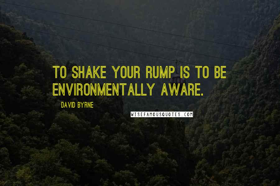 David Byrne quotes: To shake your rump is to be environmentally aware.