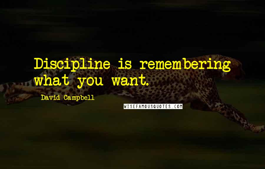 David Campbell quotes: Discipline is remembering what you want.