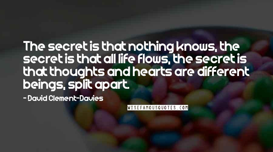 David Clement-Davies quotes: The secret is that nothing knows, the secret is that all life flows, the secret is that thoughts and hearts are different beings, split apart.