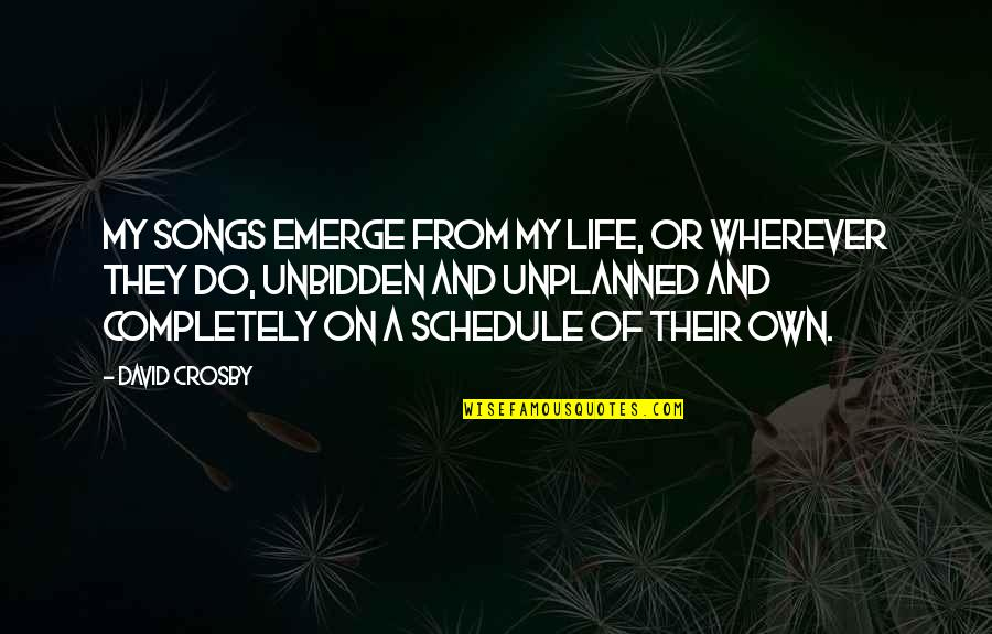 David Crosby Quotes By David Crosby: My songs emerge from my life, or wherever