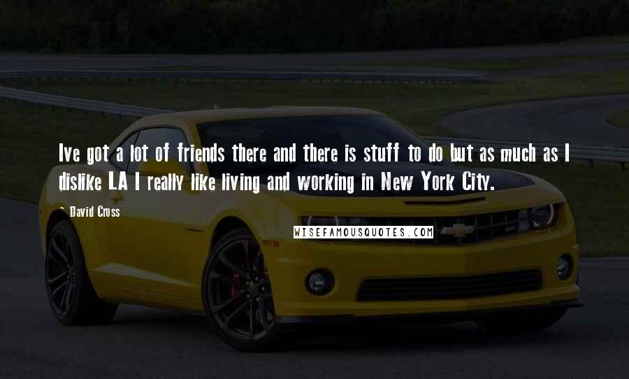 David Cross quotes: Ive got a lot of friends there and there is stuff to do but as much as I dislike LA I really like living and working in New York City.