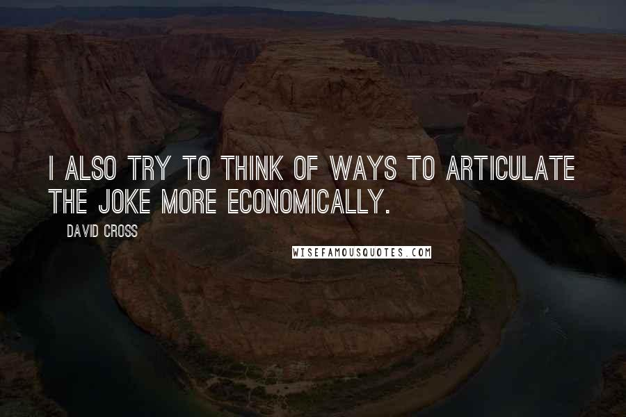 David Cross quotes: I also try to think of ways to articulate the joke more economically.