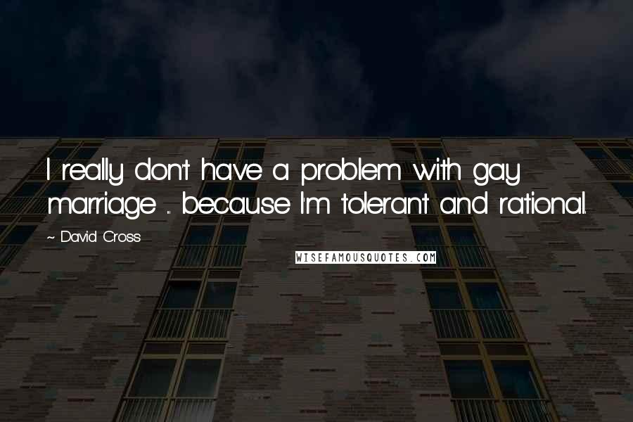 David Cross quotes: I really don't have a problem with gay marriage ... because I'm tolerant and rational.
