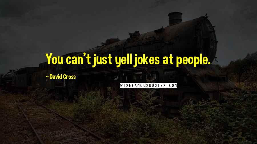 David Cross quotes: You can't just yell jokes at people.