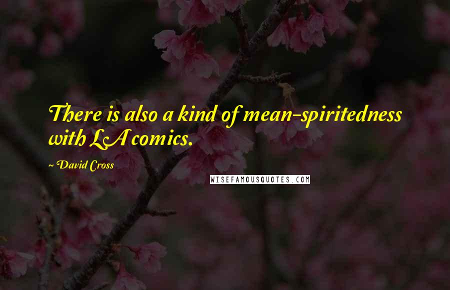 David Cross quotes: There is also a kind of mean-spiritedness with LA comics.