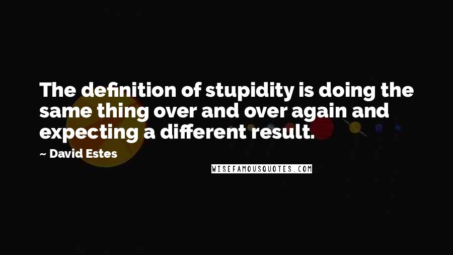 David Estes quotes: The definition of stupidity is doing the same thing over and over again and expecting a different result.
