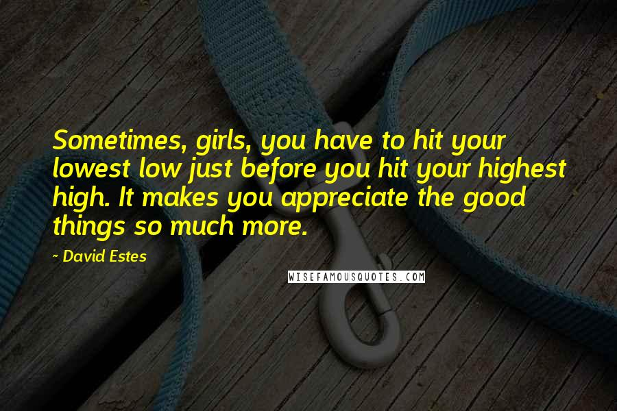 David Estes quotes: Sometimes, girls, you have to hit your lowest low just before you hit your highest high. It makes you appreciate the good things so much more.