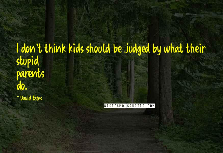 David Estes quotes: I don't think kids should be judged by what their stupid parents do.