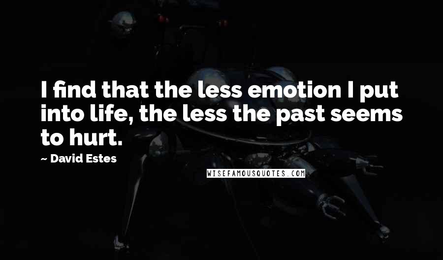 David Estes quotes: I find that the less emotion I put into life, the less the past seems to hurt.