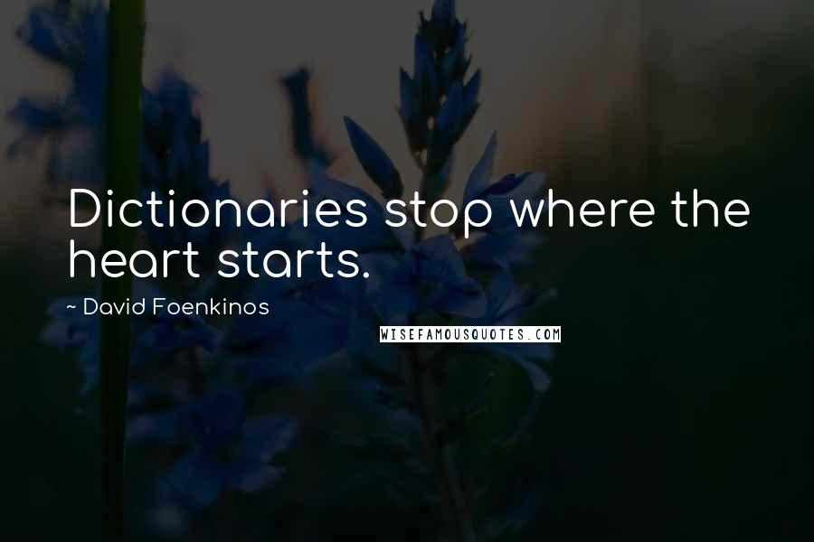 David Foenkinos quotes: Dictionaries stop where the heart starts.