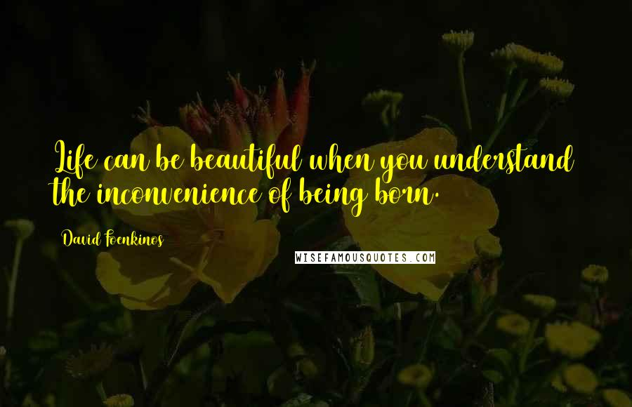 David Foenkinos quotes: Life can be beautiful when you understand the inconvenience of being born.