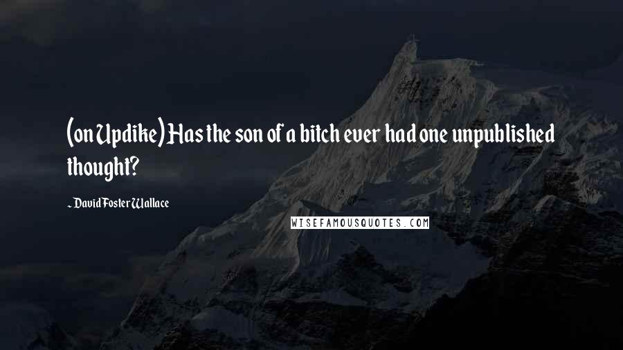 David Foster Wallace quotes: (on Updike) Has the son of a bitch ever had one unpublished thought?