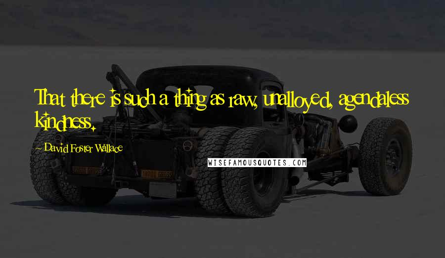 David Foster Wallace quotes: That there is such a thing as raw, unalloyed, agendaless kindness.