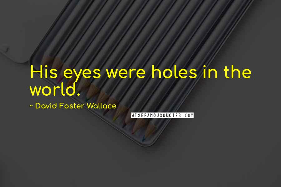 David Foster Wallace quotes: His eyes were holes in the world.