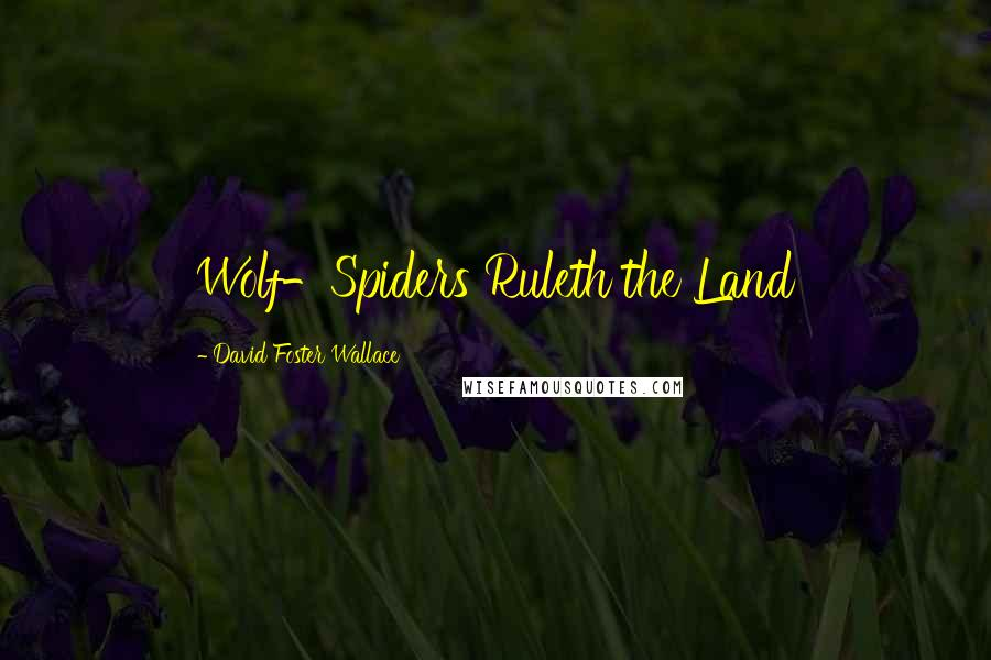 David Foster Wallace quotes: Wolf-Spiders Ruleth the Land
