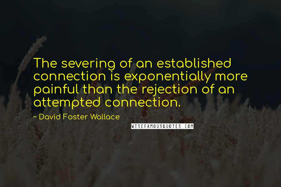 David Foster Wallace quotes: The severing of an established connection is exponentially more painful than the rejection of an attempted connection.