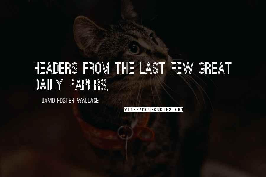 David Foster Wallace quotes: Headers from the last few great daily papers,