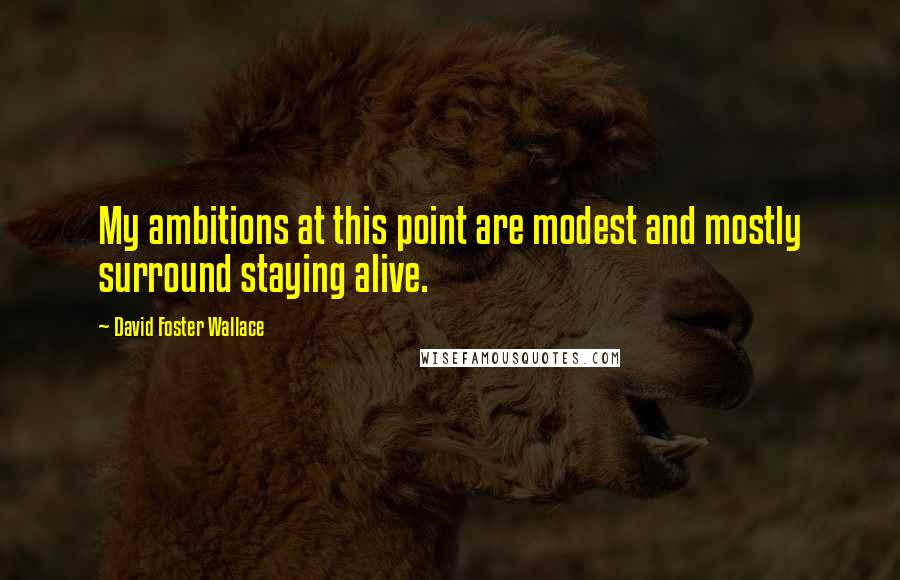 David Foster Wallace quotes: My ambitions at this point are modest and mostly surround staying alive.