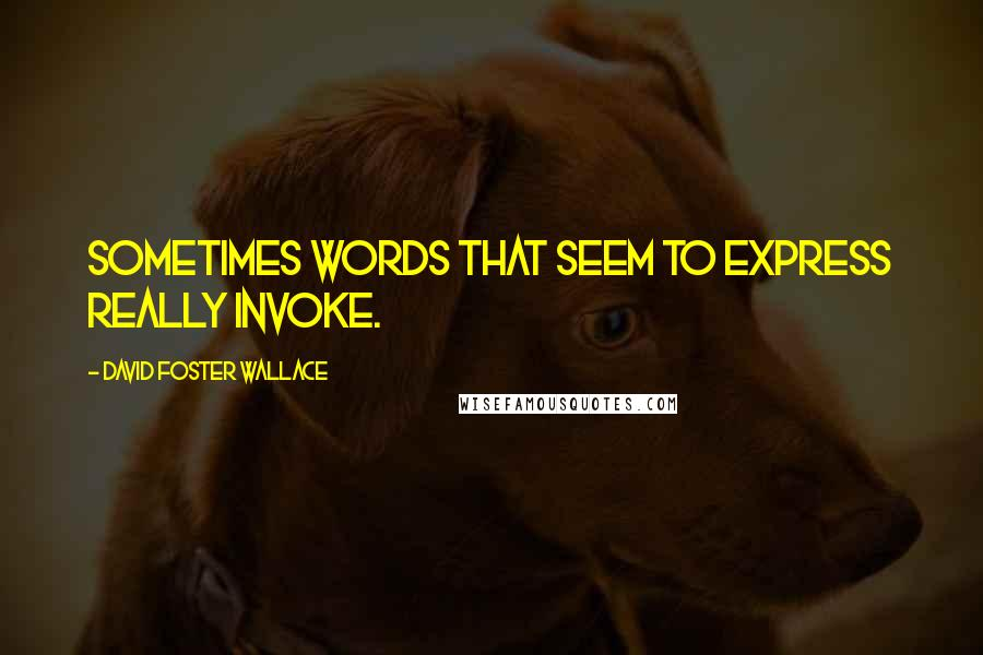 David Foster Wallace quotes: Sometimes words that seem to express really invoke.