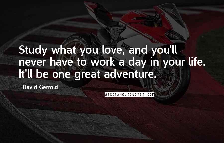David Gerrold quotes: Study what you love, and you'll never have to work a day in your life. It'll be one great adventure.