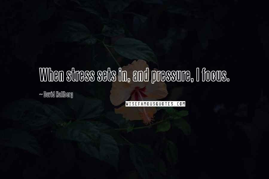 David Hallberg quotes: When stress sets in, and pressure, I focus.