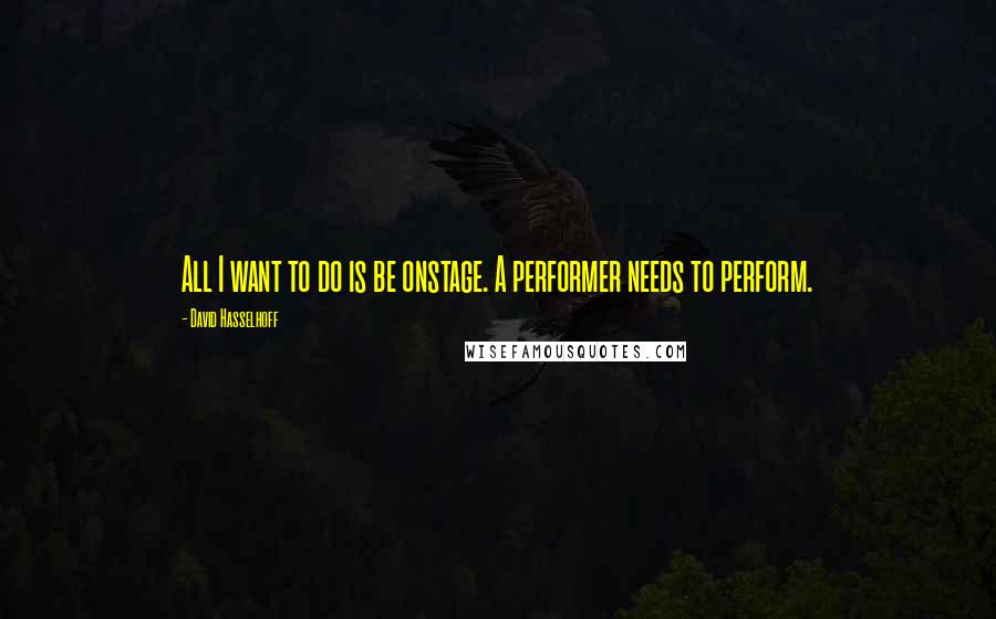 David Hasselhoff quotes: All I want to do is be onstage. A performer needs to perform.