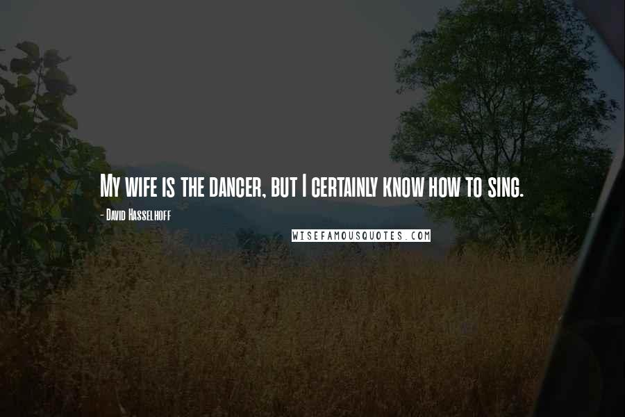 David Hasselhoff quotes: My wife is the dancer, but I certainly know how to sing.