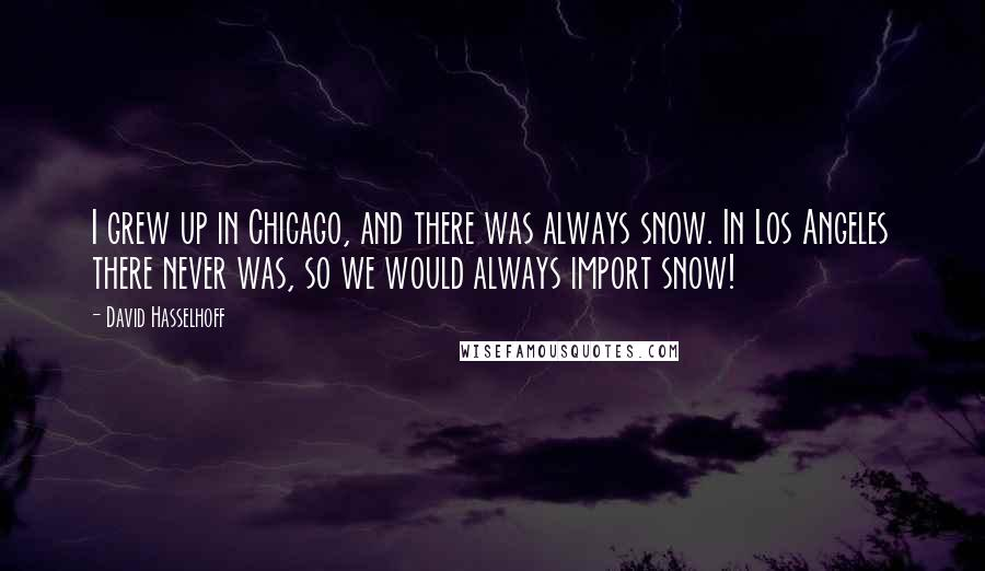 David Hasselhoff quotes: I grew up in Chicago, and there was always snow. In Los Angeles there never was, so we would always import snow!
