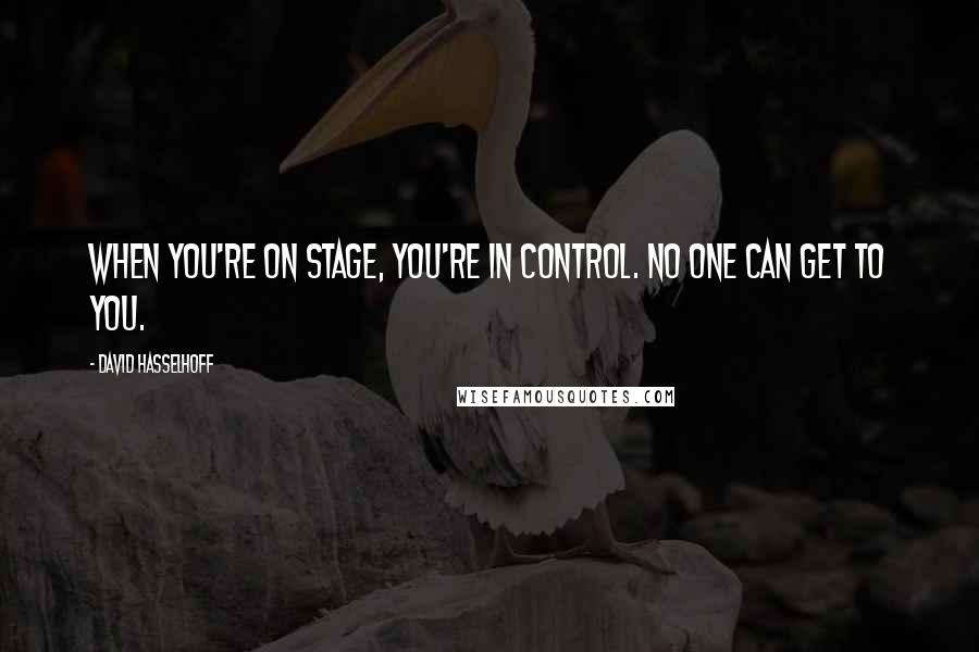 David Hasselhoff quotes: When you're on stage, you're in control. No one can get to you.