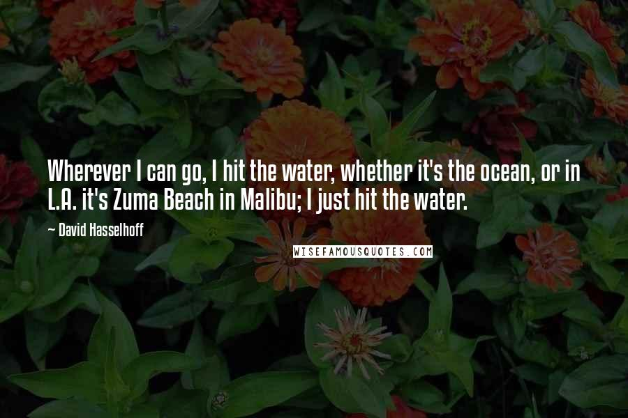 David Hasselhoff quotes: Wherever I can go, I hit the water, whether it's the ocean, or in L.A. it's Zuma Beach in Malibu; I just hit the water.