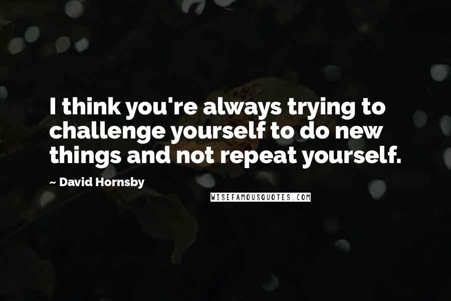 David Hornsby quotes: I think you're always trying to challenge yourself to do new things and not repeat yourself.