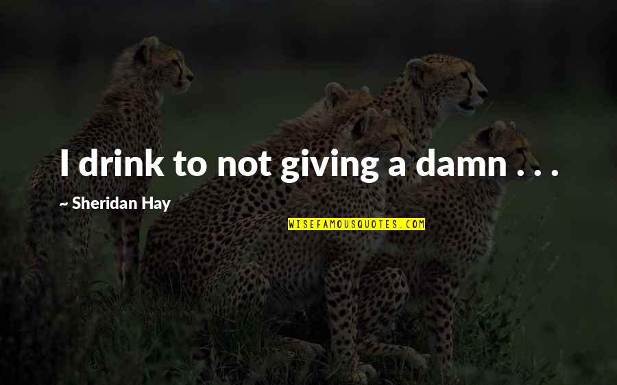 David Huerta Quotes By Sheridan Hay: I drink to not giving a damn .