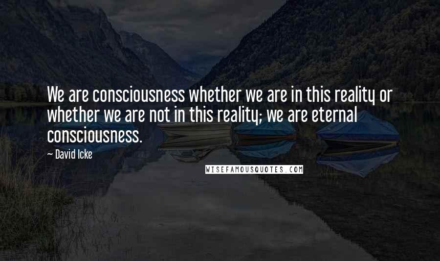 David Icke quotes: We are consciousness whether we are in this reality or whether we are not in this reality; we are eternal consciousness.