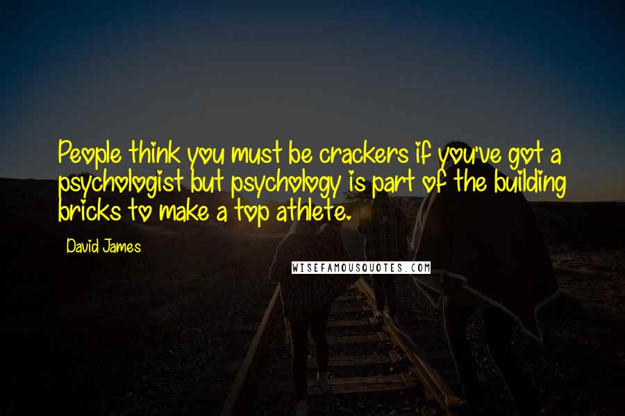 David James quotes: People think you must be crackers if you've got a psychologist but psychology is part of the building bricks to make a top athlete.