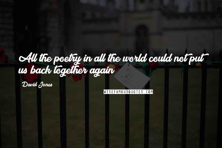 David Jones quotes: All the poetry in all the world could not put us back together again