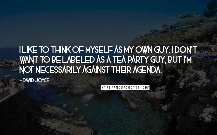 David Joyce quotes: I like to think of myself as my own guy. I don't want to be labeled as a Tea Party guy, but I'm not necessarily against their agenda.