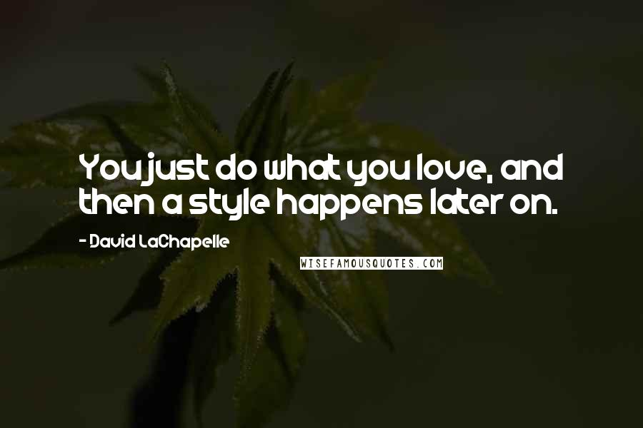 David LaChapelle quotes: You just do what you love, and then a style happens later on.