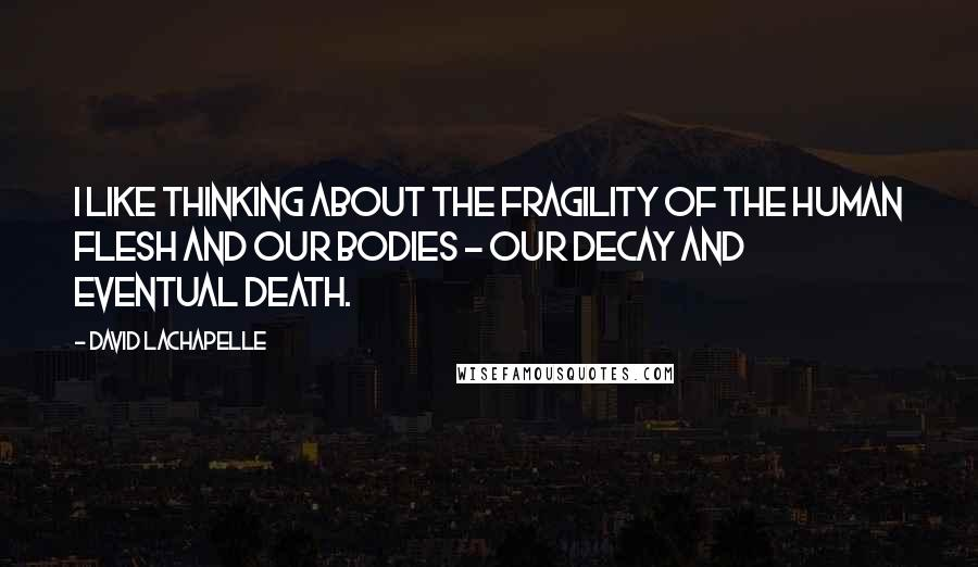 David LaChapelle quotes: I like thinking about the fragility of the human flesh and our bodies - our decay and eventual death.