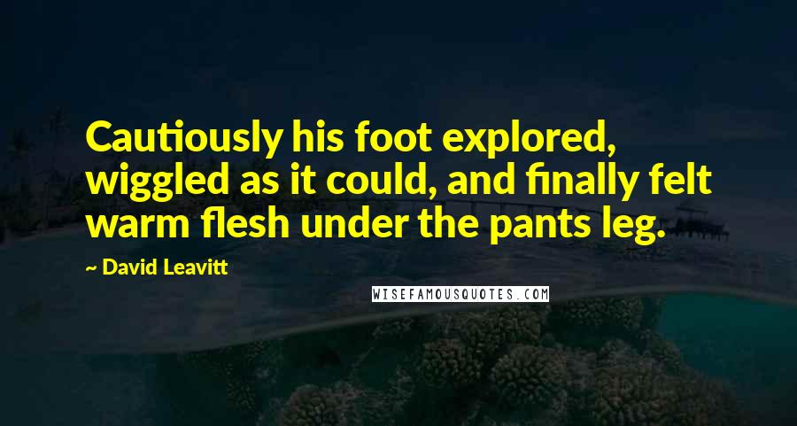 David Leavitt quotes: Cautiously his foot explored, wiggled as it could, and finally felt warm flesh under the pants leg.