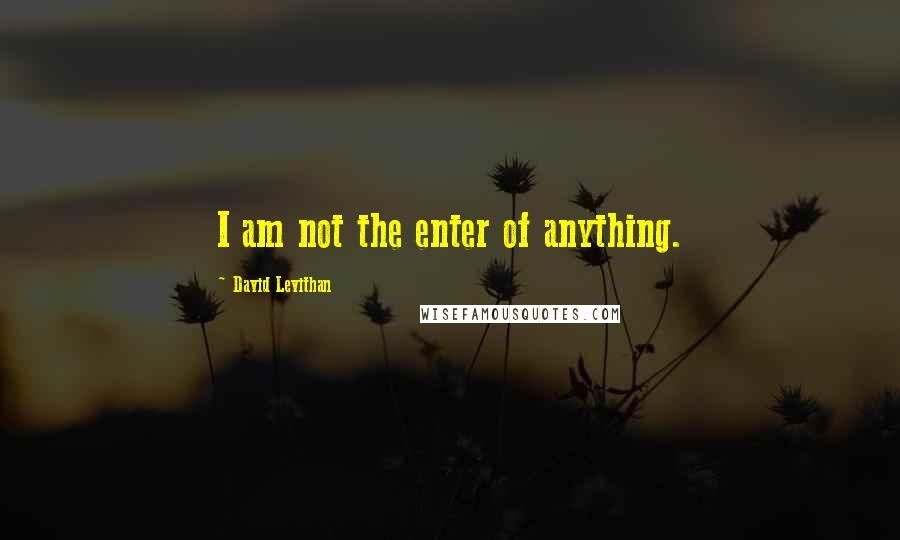 David Levithan quotes: I am not the enter of anything.