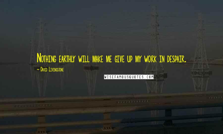 David Livingstone quotes: Nothing earthly will make me give up my work in despair.