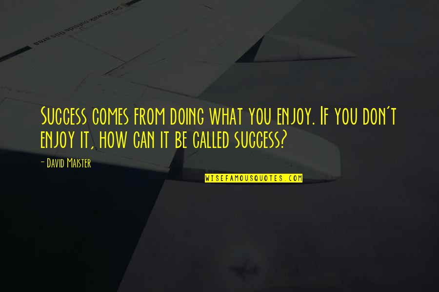 David Maister Quotes By David Maister: Success comes from doing what you enjoy. If