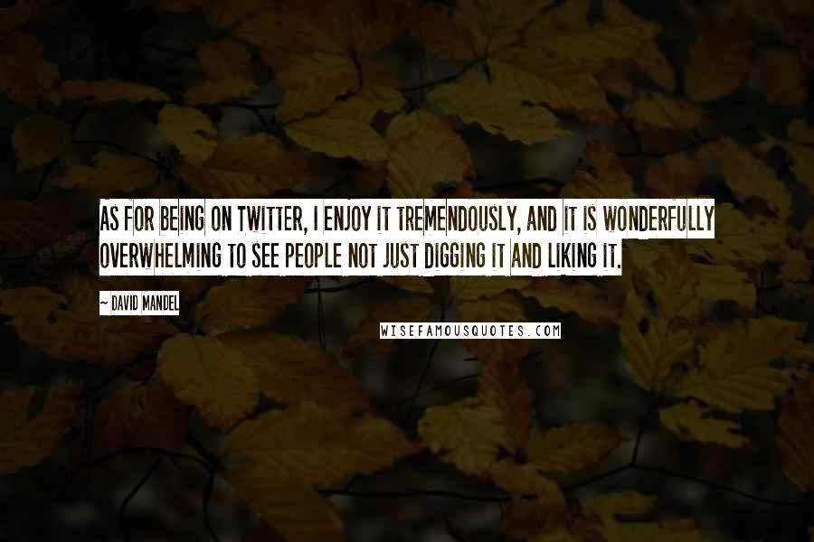 David Mandel quotes: As for being on Twitter, I enjoy it tremendously, and it is wonderfully overwhelming to see people not just digging it and liking it.