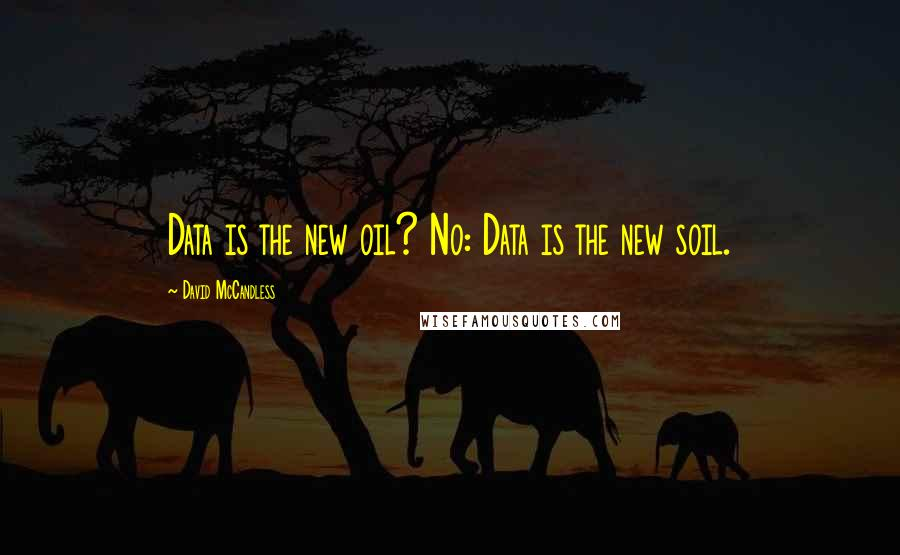 David McCandless quotes: Data is the new oil? No: Data is the new soil.
